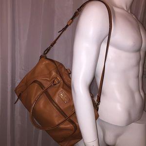 authentic KATE SPADE tan leather zip top SATCHEL
